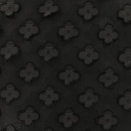 ♥ Coupon 200 cm X 145 cm ♥ Muslin with simple flower relief fabric - black