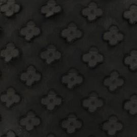 Tissu mousseline avec Fleurs simples en relief noir x 50 cm