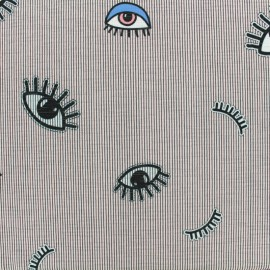 Tissu jersey léger Keep your eyes on me x 10cm
