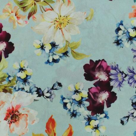 flowers flowers muslin Fabric - aqua and pink x 50cm