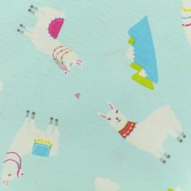 ♥ Coupon 30 cm X 140 cm ♥ Poly cotton fabric - lamas - light blue