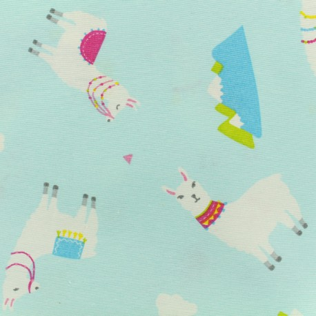 Poly cotton fabric - lamas - light blue x 10cm