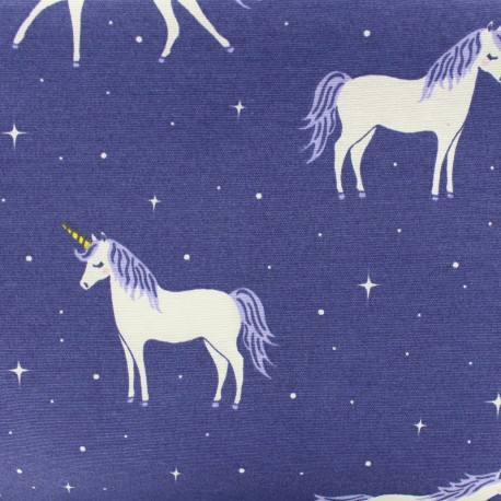 Poly cotton fabric - stardust unicorn - purple x 10cm