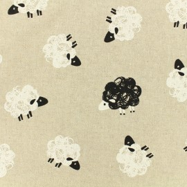 Tissu polycoton  - Field of sheep - couleur lin x 10cm