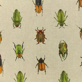 Poly cotton fabric - Beetles - linnen x 10cm
