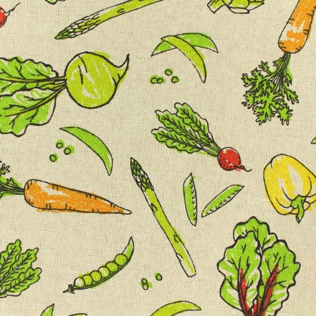 Poly cotton fabric - Vegetable food - linnen x 10cm