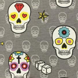 Tissu polycoton  - Mexican skull tattoo - rose sur fond gris x 20cm
