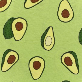 Poly cotton fabric - Tasty avocado - green background x 20cm