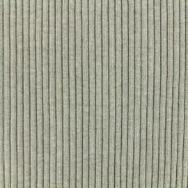 Tissu jersey tubulaire bord-côte 1/2 large - gris souris  x 10cm