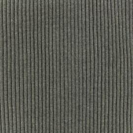 Tissu jersey tubulaire bord-côte 1/2 large - gris anthracite  x 10cm