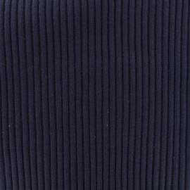 Tissu jersey tubulaire bord-côte 1/2 large - marine  x 10cm