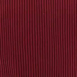 Tissu jersey tubulaire bord-côte 1/2 large - bordeaux  x 10cm