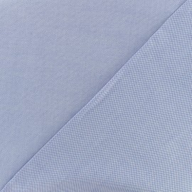 Satined poplin Fabric chambray - blue x 10cm
