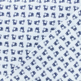 Tissu popeline satinée Siamois - bleu x 10cm