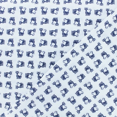 Satined poplin Fabric Siamese - blue x 10cm