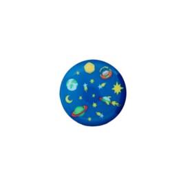 Bouton polyester Univers 15 mm - bleu saphir
