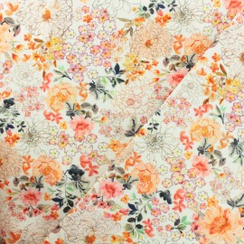 Cotton canvas fabric Flowers from the sun - orange x 10cm