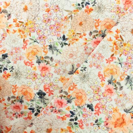 Tissu Toile de coton fleurs du soleil - orange x 10 cm