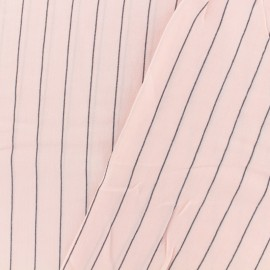 Cotton viscose Fabric grey stripes - pink x 10cm