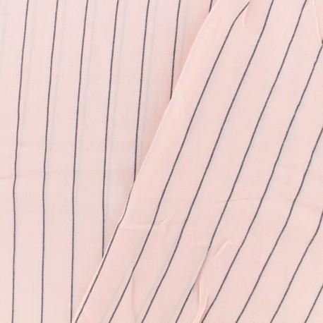 Tissu coton viscose rayures grises - rose x 10cm
