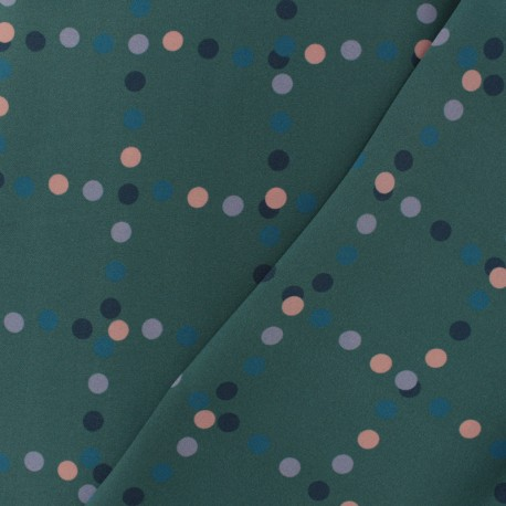 Squared dot polyester satin fabric - black/purple x 40cm