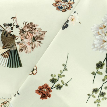 Chinese flower print polyester satin fabric - beige x 40cm