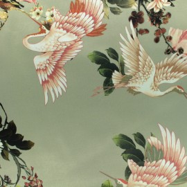 Chinese flower print polyester satin fabric - vert de gris x 40cm