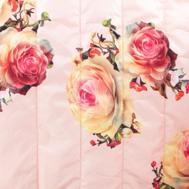 Nylon quilted lining fabric Roses - pink x 25cm