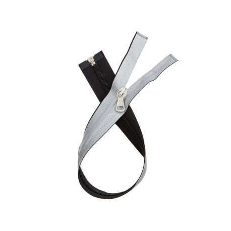 Waterproof open-end zipper - glitterry silver