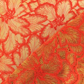 Embroidered lace fabric Monica - red and cumin x 10cm