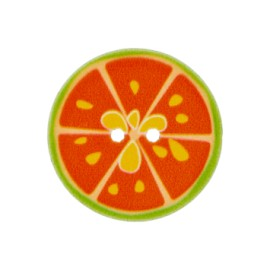 Bouton polyester Crazy lemonade 25 mm - orange