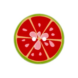 Bouton polyester Crazy lemonade 25 mm - rouge