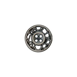 12 mm Cheverny metal button - ancient silver
