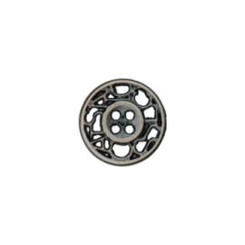 Bouton métal ajouré Cheverny 12 mm - vieil argent
