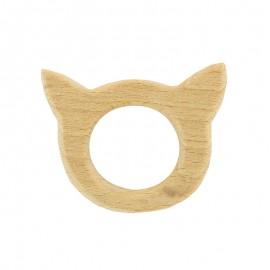 Organic natural wood teething ring - cat