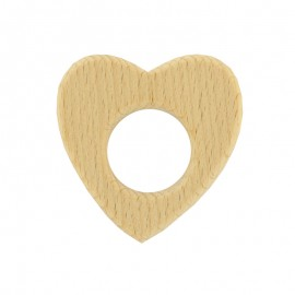 Organic natural wood teething ring - heart