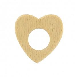 Organic natural wood teething ring - heart