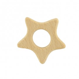 Organic natural wood teething ring - star