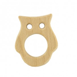 Natural wood teething ring - owl