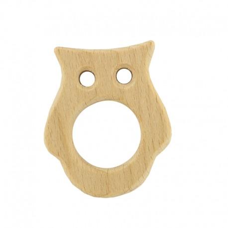 Organic natural wood teething ring - owl