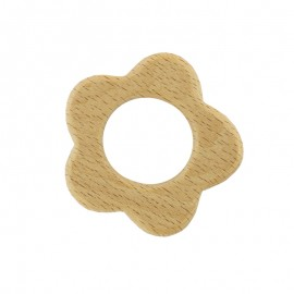 Natural wood teething ring - flower