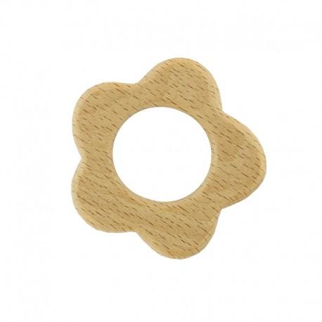 Organic natural wood teething ring - flower