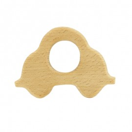 Organic natural wood teething ring - car