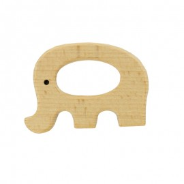Organic natural wood teething ring - elephant
