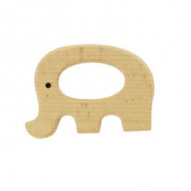 Organic natural wood teething ring - elephant