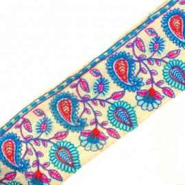 Ruban galon India Vanaspatiyaan - turquoise/fuchsia x 50cm