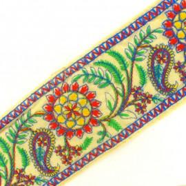 Ruban galon India Sooraj phool - bleu/rouge x 50cm