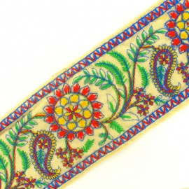 Sooraj phool India trimming ribbon - blue/red x 50cm