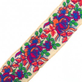 Gulaab  India trimming ribbon - blue/fuchsia x 50cm