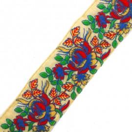 Ruban galon India Phool - bleu/rouge x 50cm